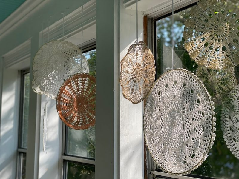 Not your grandma's modern doily decor